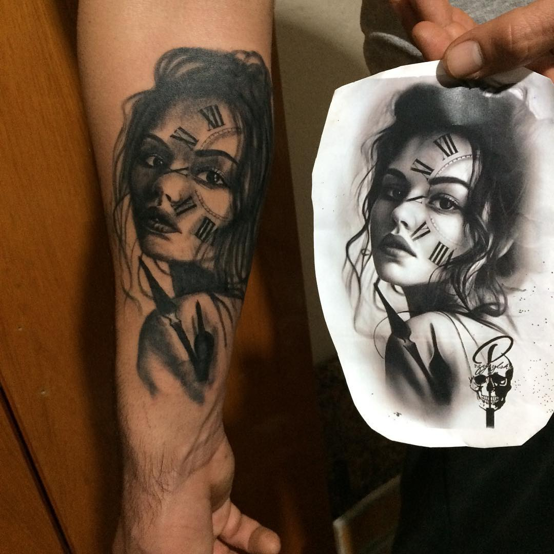 卖蓝猫的翟先生小臂美女纹身图案图片