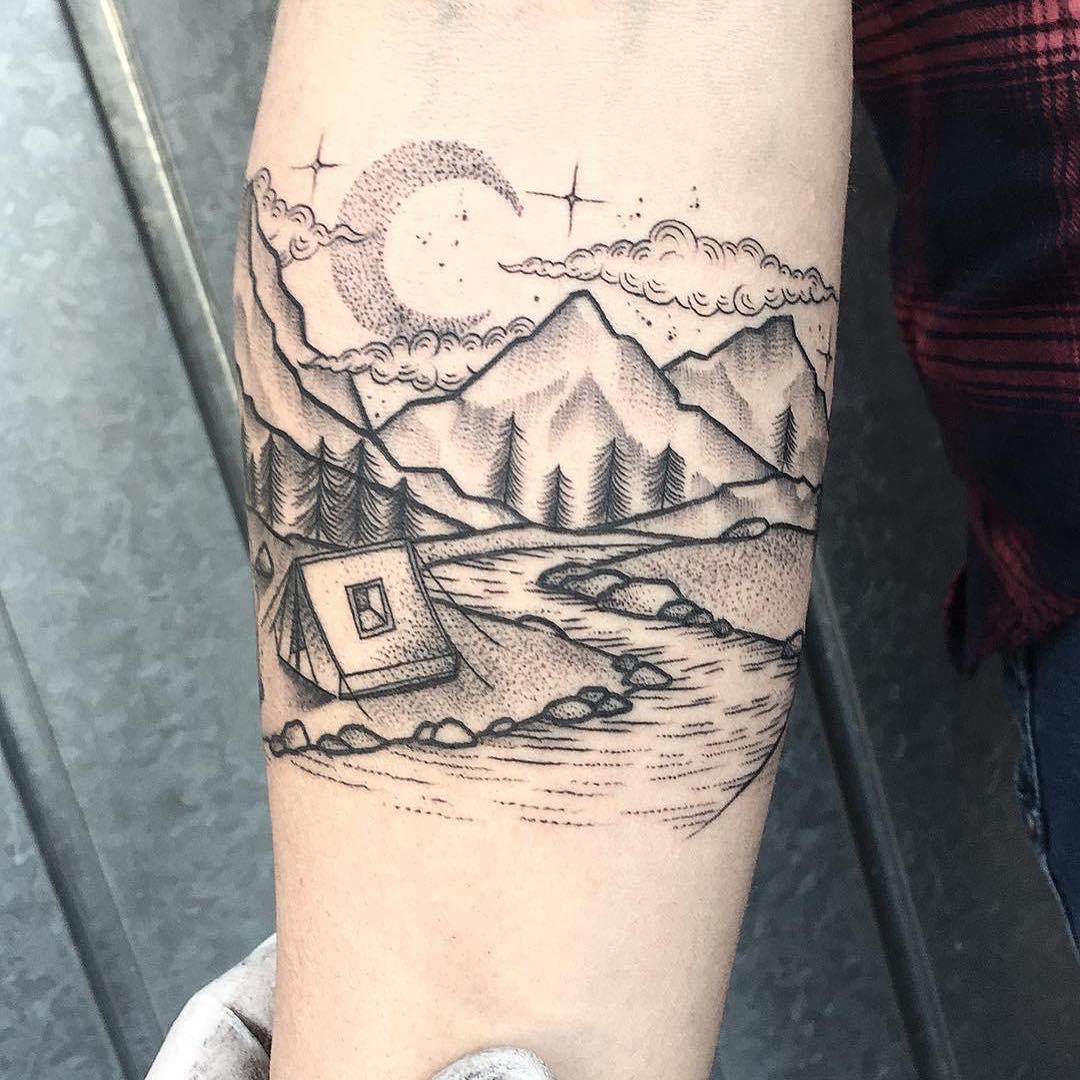 蔚先生小臂点刺风森林系山峰纹身图案